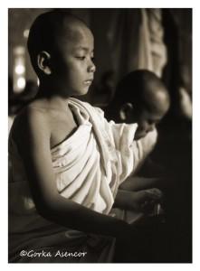 BIRMANIA MYANMAR NIÑOS MONJES BUDISTA